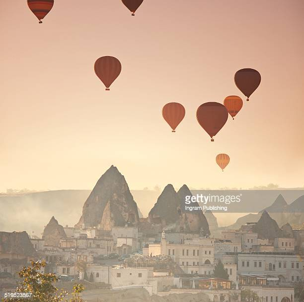 Hot air balloons over town