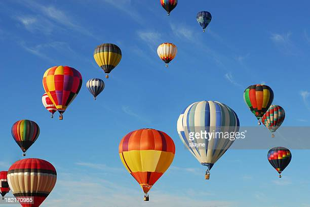 hot air balloons - balloon ride stock pictures, royalty-free photos & images
