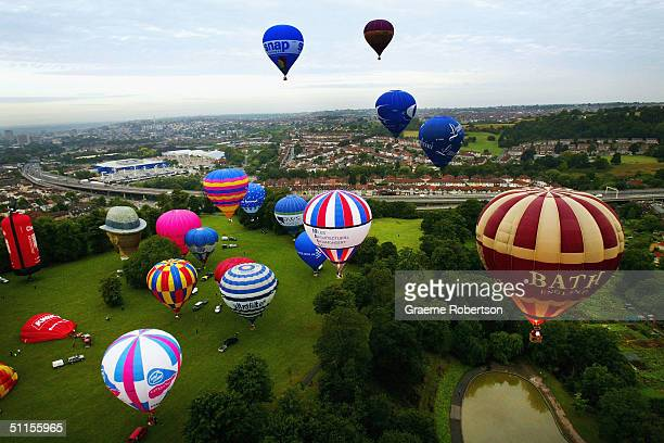Hot air balloons rise over Bristol city centre August 10 2004 Bristol England The Balloons took to the sky as a precursor to the annual Bristol...
