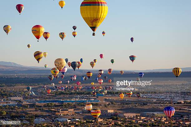 Hot Air Balloons Rising Above Albuquerque New Mexico