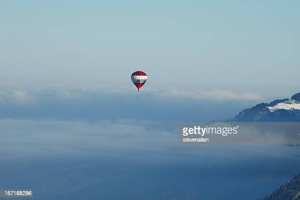 hot air balloons swiss alps - swiss alps stock pictures, royalty-free photos & images