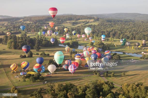 Hot air balloons take to the skies at Longleat's Sky Safari early morning mass ascent at Longleat on September 15 2018 near Warminster in Wiltshire...
