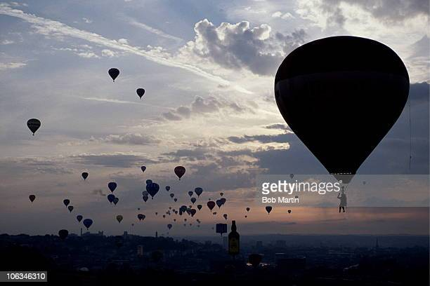 Hot air balloons take to the sky at The Bristol International Balloon Fiesta on 15th August 1990 at Ashton Court Bristol Great Britain