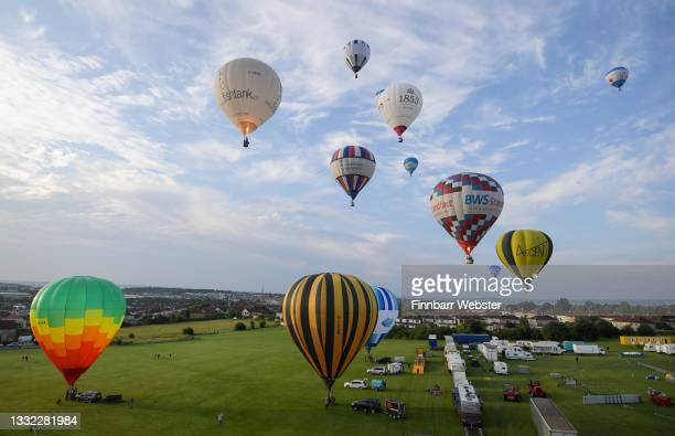 """Hot air balloons take to the sky on August 04, 2021 in Bristol, England. """"Fiesta Fortnight"""" takes place until Sunday 15th August 2021 with hundreds..."""