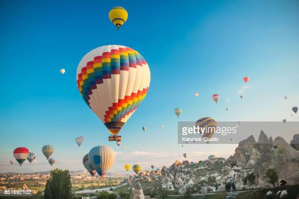 hot air baloon in cappadocia - balloon ride stock pictures, royalty-free photos & images