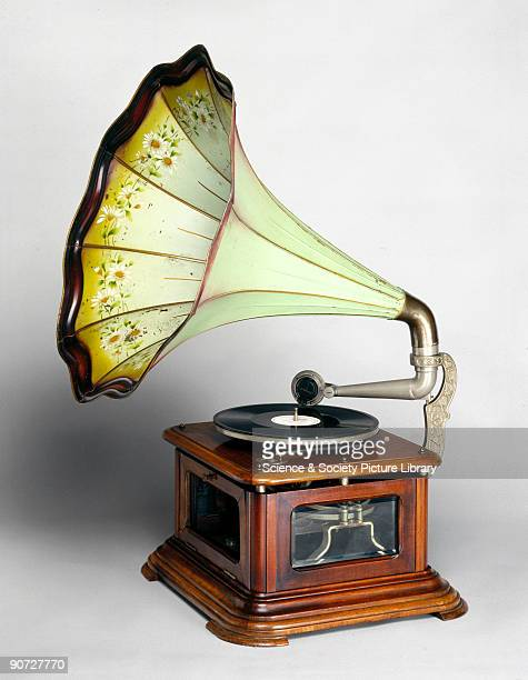 Hot air gramophone with soundbox and horn painted in a floral design made by Paillard