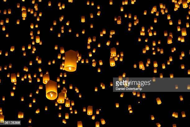 Hot air lanterns in sky
