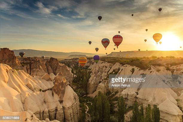 Hot airbBallooning in the sunrise in Cappadocia
