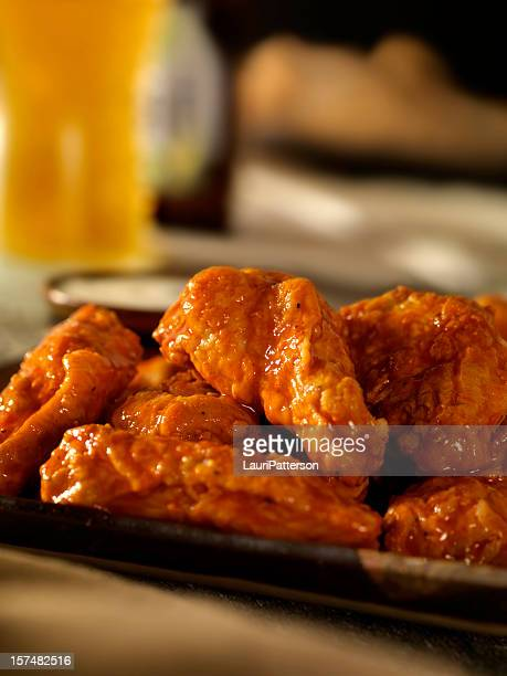 hot and spicy buffalo wings - chicken wings stock pictures, royalty-free photos & images