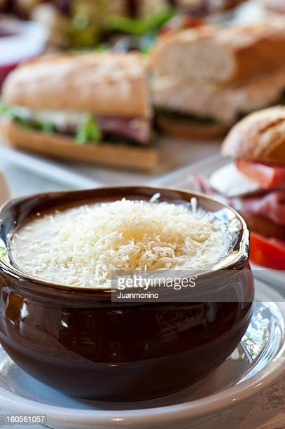 Hot and tasty French onion soup.