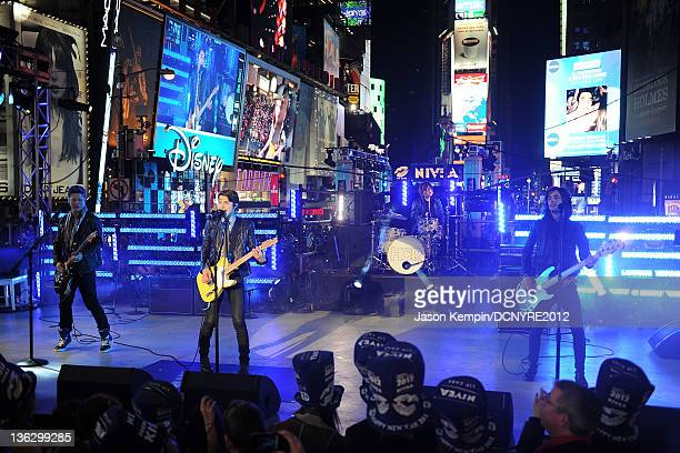 Hot Chelle Rae performs onstage during Dick Clark's New Year's Rockin' Eve with Ryan Seacrest 2012 at Times Square on December 31, 2011 in New York...