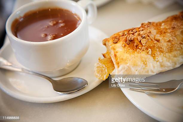 Hot chocolate and apple turnover