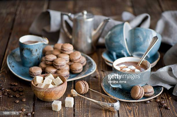 Hot chocolate and macarons