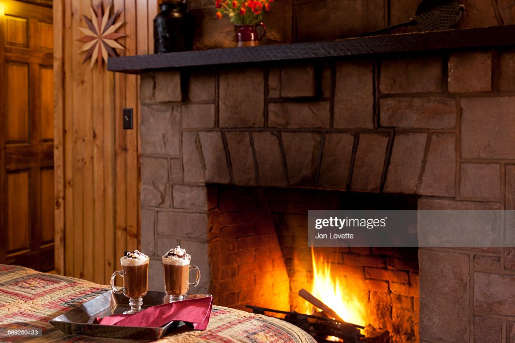 Hot Chocolate by fire : Stock Photo