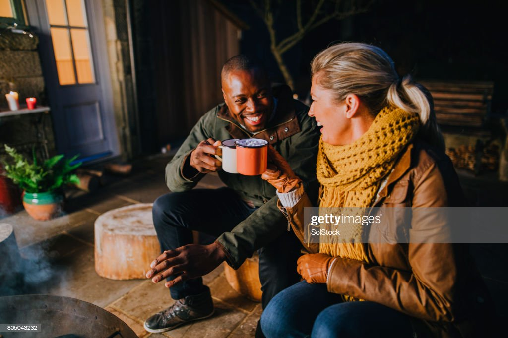 Hot Chocolate by the Fire : Stock Photo