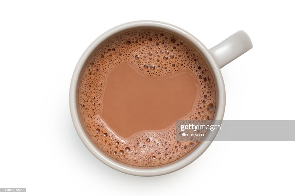 Hot chocolate in a grey ceramic mug isolated on white from above. : Stock Photo