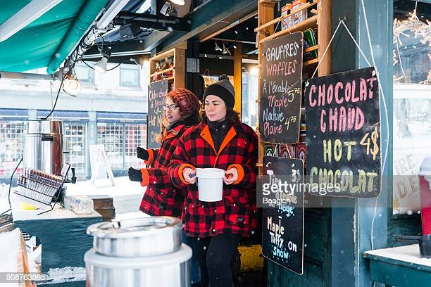 Hot Chocolate Stand on Cold Snowy Day in Montreal Canada
