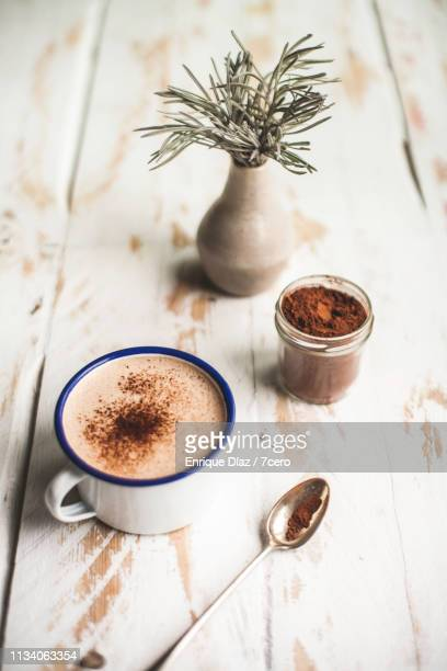 hot chocolate still life - harvest table stock pictures, royalty-free photos & images