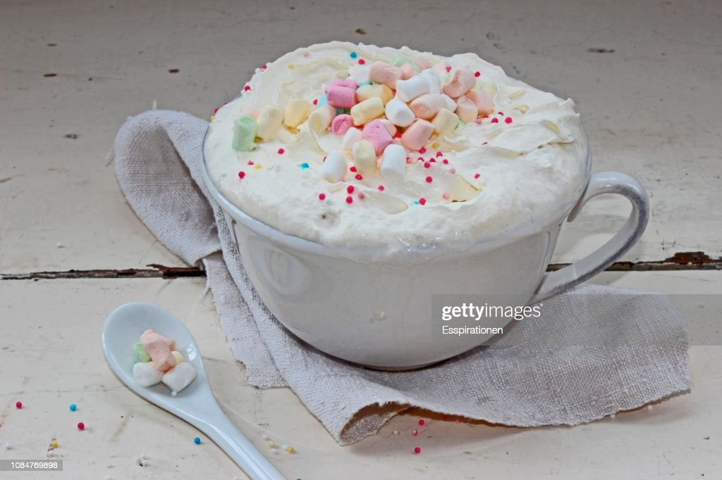 Hot chocolate with cream and marshmallows : Stock Photo