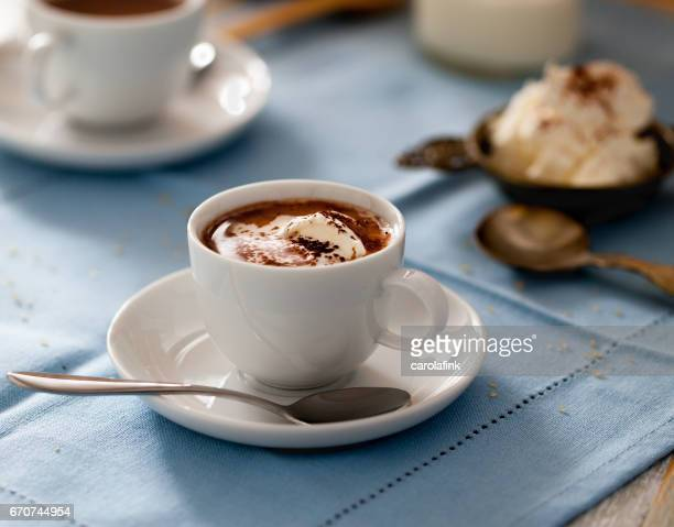 hot chocolate with cream - carolafink stock-fotos und bilder