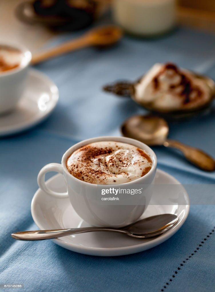 Hot chocolate with cream : Stock Photo