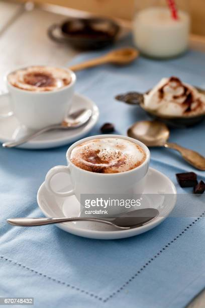 hot chocolate with cream - carolafink stock photos and pictures