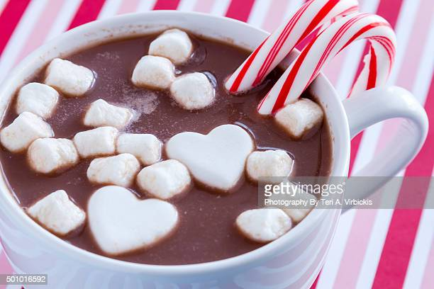 Hot Chocolate with Heart Shaped Candies