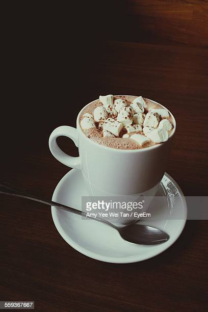 Hot Chocolate With Marshmallows Served On Table