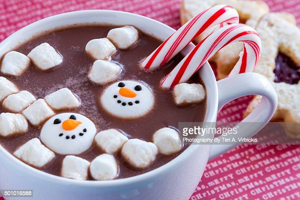 Hot Chocolate with Snowmen Candies