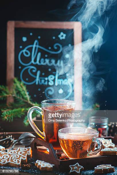 Hot Christmas tea with festive lettering