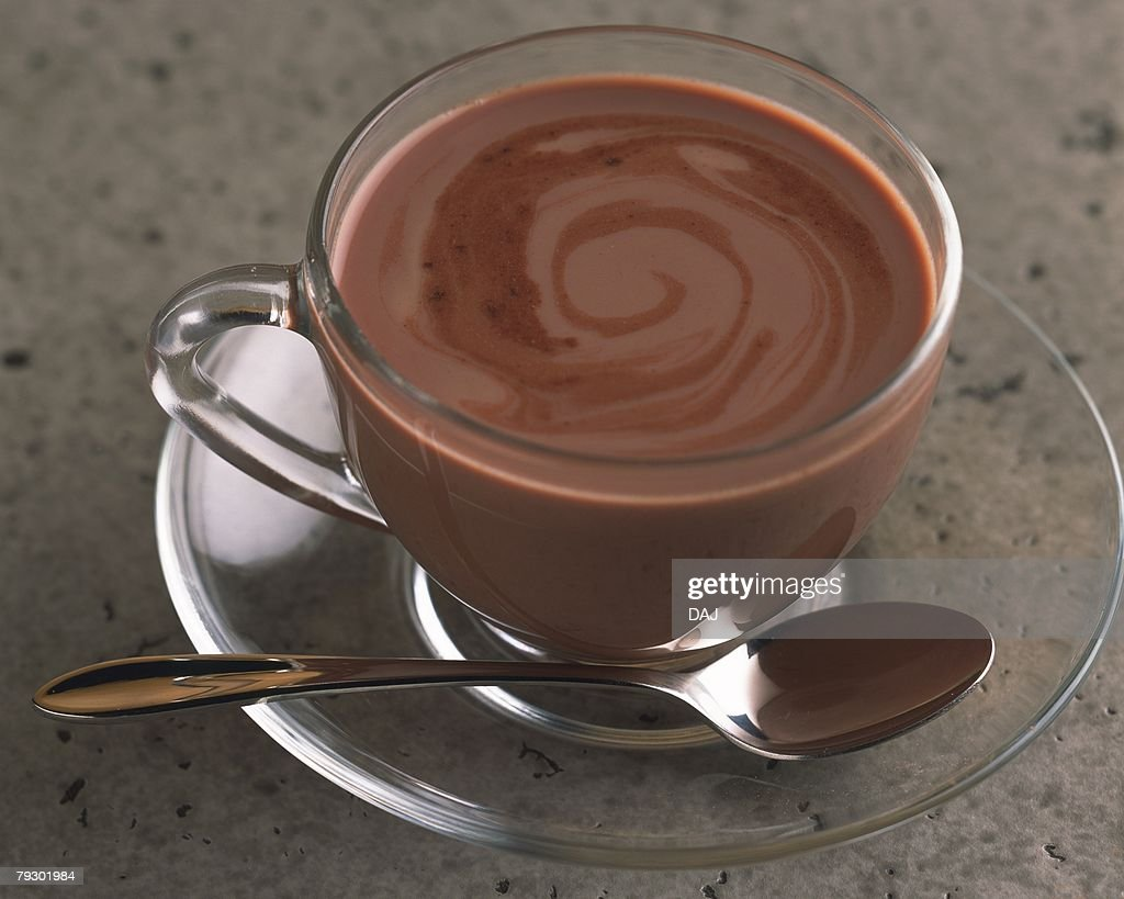 Hot Cocoa in the Transparence Cup, High Angle View, Differential Focus : Stock Photo