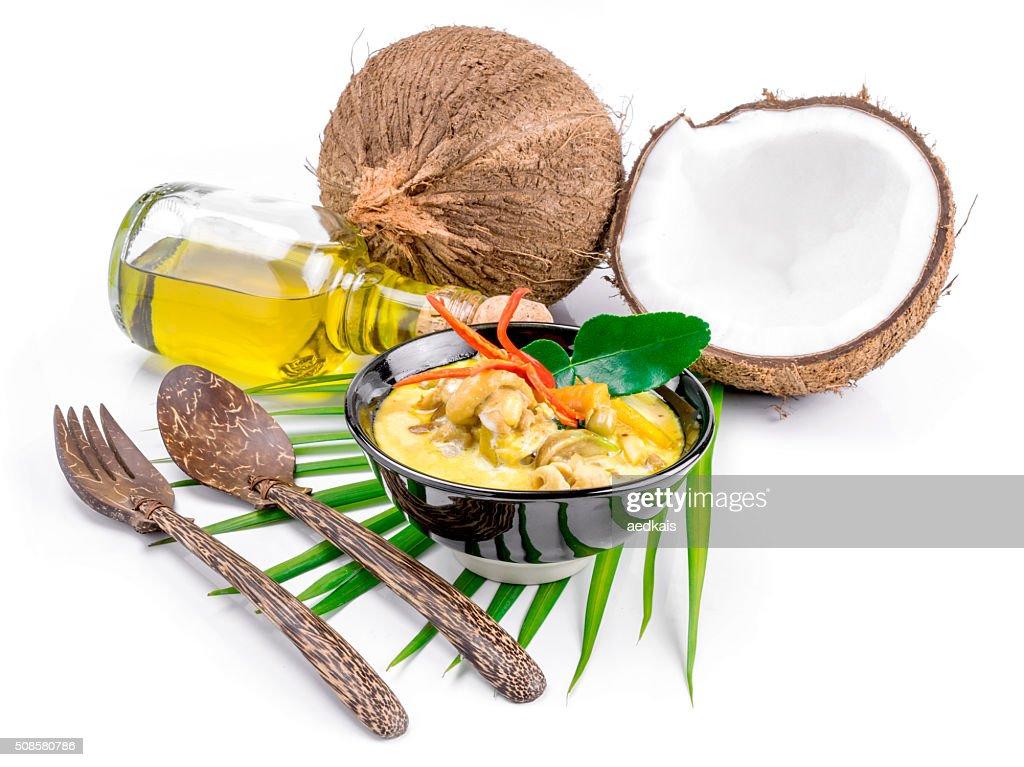 Zuppa di cocco e pollo caldo peperoncino e con Curry : Foto stock