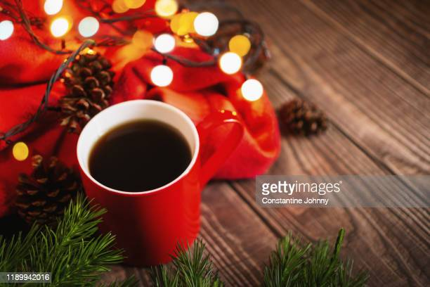 hot coffee on christmas day - hello december stock pictures, royalty-free photos & images
