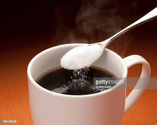 hot coffee - sugar coffee stock photos and pictures