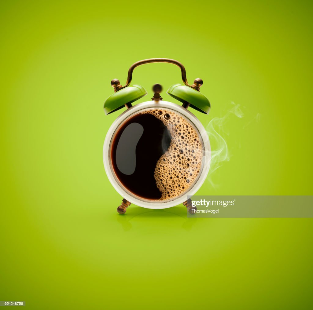 Hot Coffee Retro Alarm Clock : Stock Photo