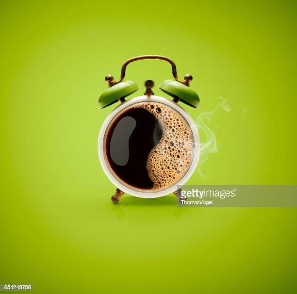 hot coffee retro alarm clock - waking up stock pictures, royalty-free photos & images