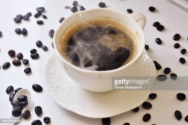 Hot Coffee with coffee beans
