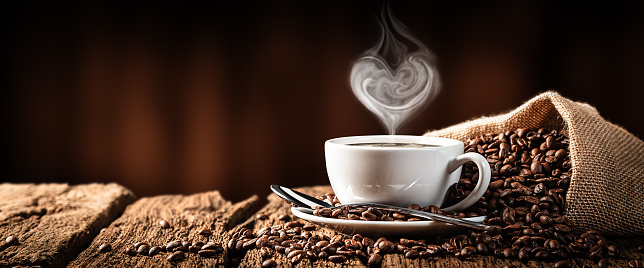 Hot Coffee With Heart Shaped Steam 1170600935
