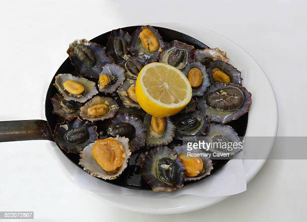 hot cooked limpets ready to eat - limpet stock pictures, royalty-free photos & images