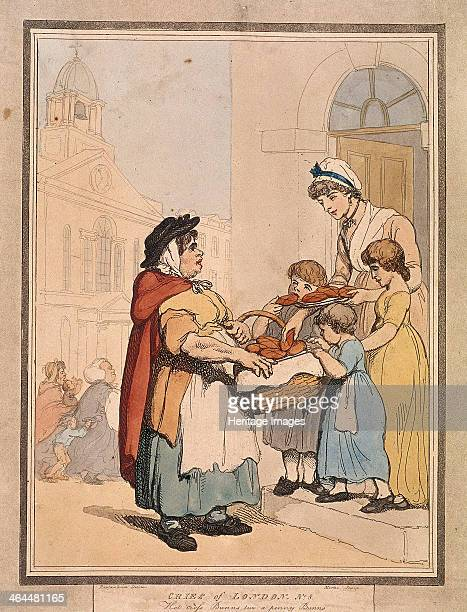 'Hot cross Bunns two a penny Bunns' Plate VIII of Cries of London 1799 A stout woman sells buns to a woman with three children standing in their...