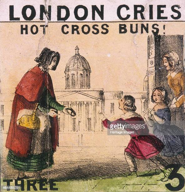'Hot Cross Buns' A child buying from a hot cross bun seller From Cries of London c1840
