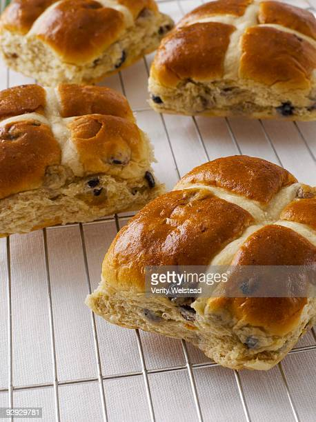 Hot cross buns on wire rack