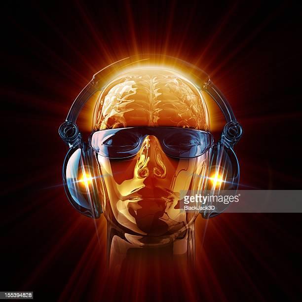 Hot DJ in sunglasses and earphones