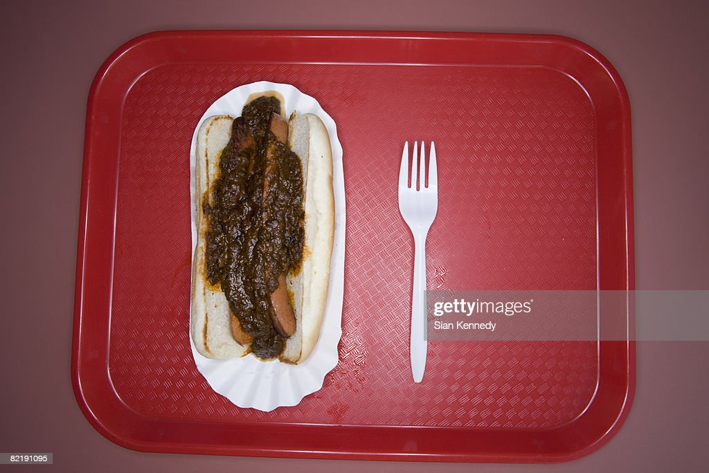 Hot dog on a fast food tray : Stock Photo