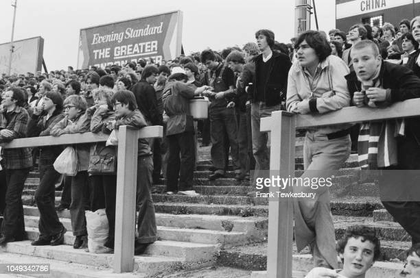 Hot dog seller serving young people at a Chelsea FC game at Stamford Bridge London UK 15th August 1979