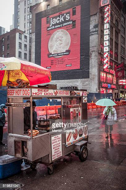 Hot Dog stand on a rainy day