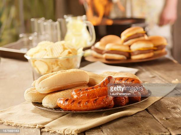 BBQ Hot Dogs at a Picnic