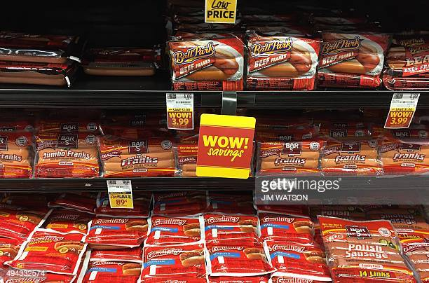 Hot dogs rest are displayed on a shelf for sale at a grocery store in Centreville Maryland on October 26 2015 Sausages ham and other processed meats...
