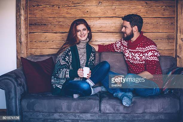Hot drink and cozy sweater