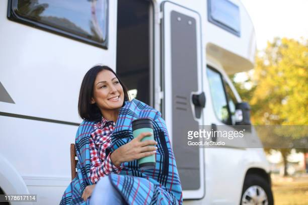 hot drink - camper trailer stock pictures, royalty-free photos & images